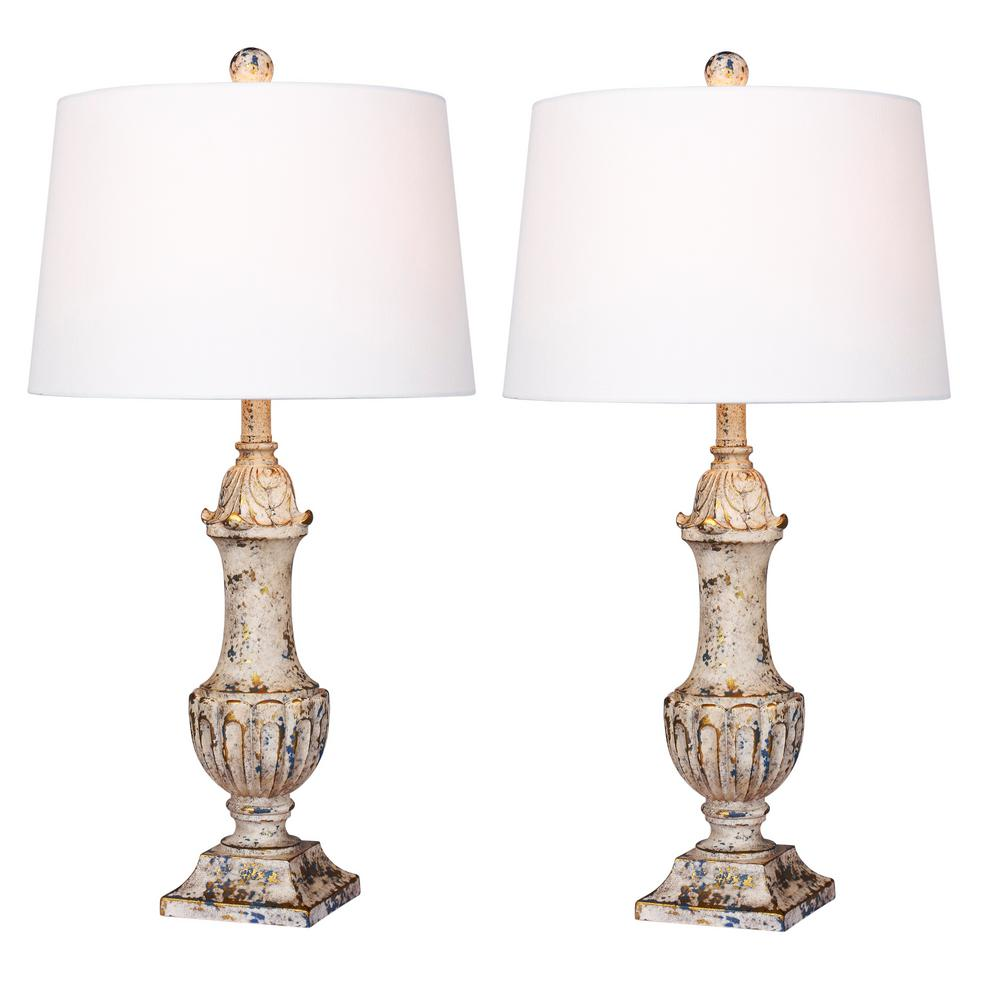 Fangio Lighting 29.5 in. Antique Ivory Distressed Decorative Urn Resin Table Lamp (2-Pack)