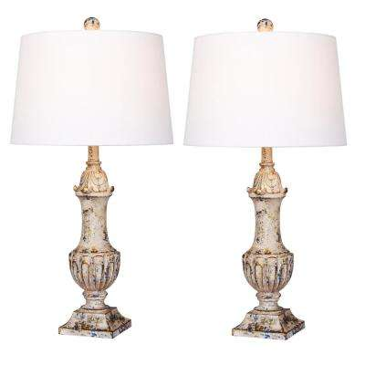 29.5 in. Antique Ivory Distressed Decorative Urn Resin Table Lamp (2-Pack)