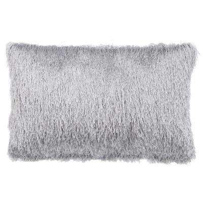 Soleil Shag 12 in. x 20 in. Silver Rectangle Outdoor Lumbar Throw Pillow