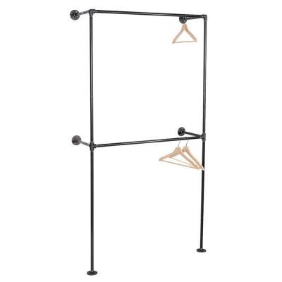 1/2 in. x 3.2 ft. L Black Pipe 2-Tier Wall Mounted Clothing Rack Kit