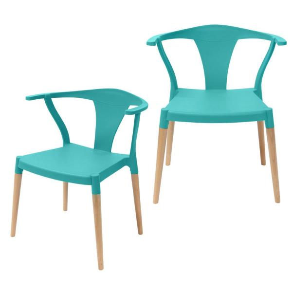 CozyBlock Icon Series Turquoise Modern Accent Dining Arm Chair with Beech Wood Legs (Set of 2)