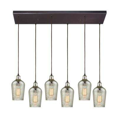 Hammered Glass 6-Light Rectangle in Oil Rubbed Bronze with Hammered Mercury Glass Pendant