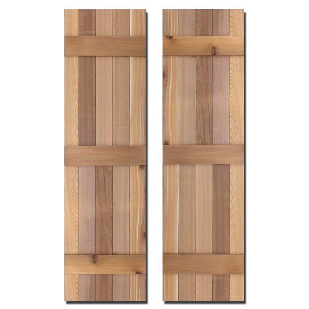 12 in. x 67 in. Natural Cedar Board-N-Batten Baton Shutters Pair