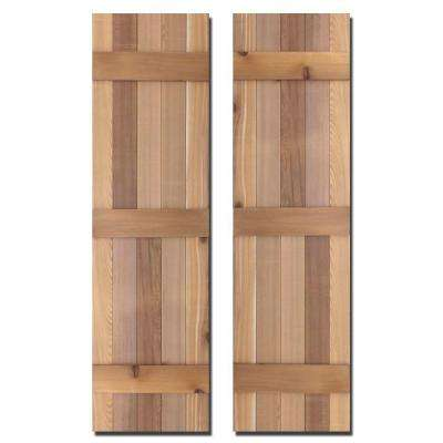 15 in. x 60 in. Natural Cedar Board-N-Batten Baton Shutters Pair