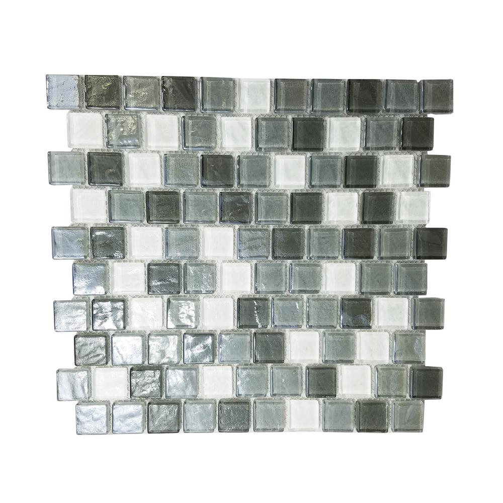 Gray Mosaic 1 In X 1 In Textured Glass Mesh Mounted Decorative Bathroom Wall Backsplash Tile 0 84 Sq Ft