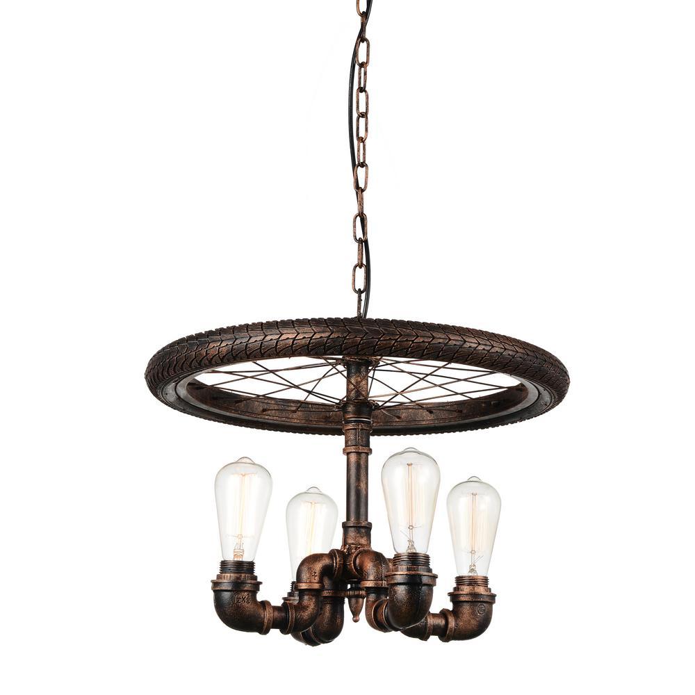 CWI Lighting Union 4-Light Blackened Copper Chandelier-9725P20-4-211 ...