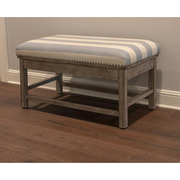 Decor Therapy Farley Light Blue Upholestered Bench FR8703
