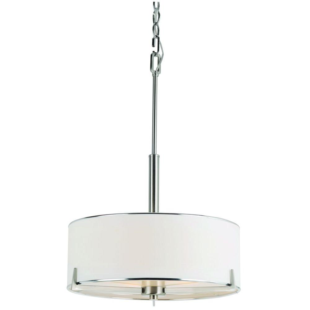 Bel Air Lighting Cabernet 3 Light Brushed Nickel Incandescent Ceiling Pendant 1050 Bn The Home Depot
