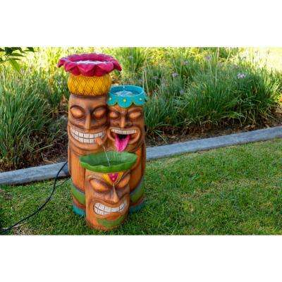 35 in. Tall Colorful Tiki 3-Bowl Cascading Fountain with LED Light