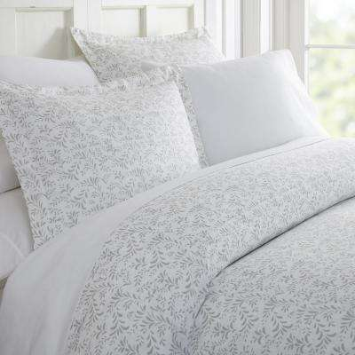 Burst of Vines Patterned Performance Light Gray Queen 3-Piece Duvet Cover Set