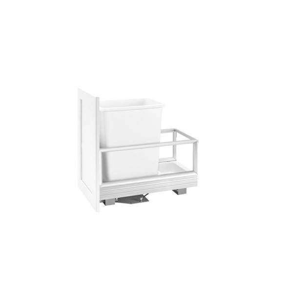 19.5 in. H x 12.13 in. W x 22 in. D Single 35 Qt. Pull-Out Brushed Aluminum and White Waste Container with Rev-A-Motion