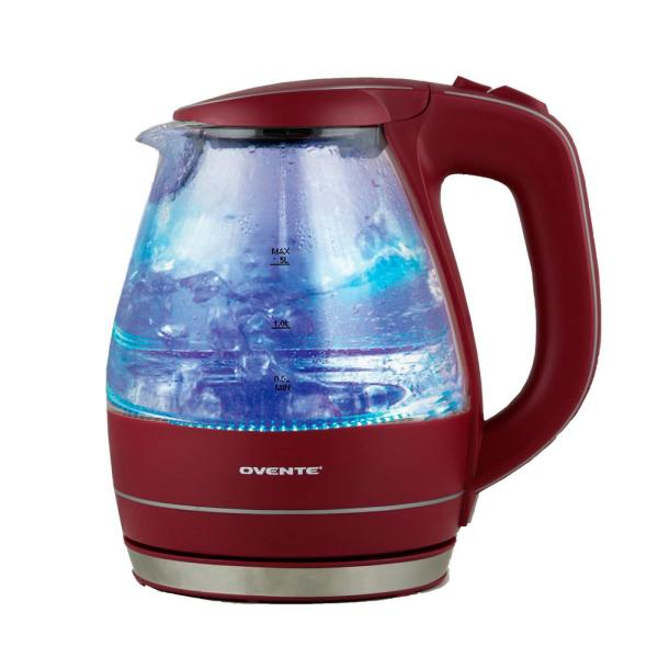 Ovente Illuminated 6.5-Cup Maroon Cordless Electric Kettle with Filter KG83M