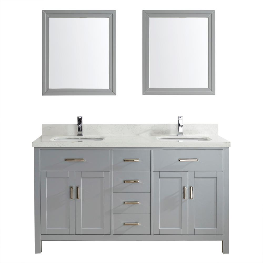 Studio Bathe Kalize II 63 in. W x 22 in. D Vanity in Oxford Gray with Engineered Vanity Top in White with White Basin and Mirror