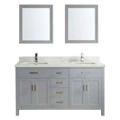 Kalize II 63 in. W x 22 in. D Vanity in Oxford Gray with Engineered Vanity Top in White with White Basin and Mirror