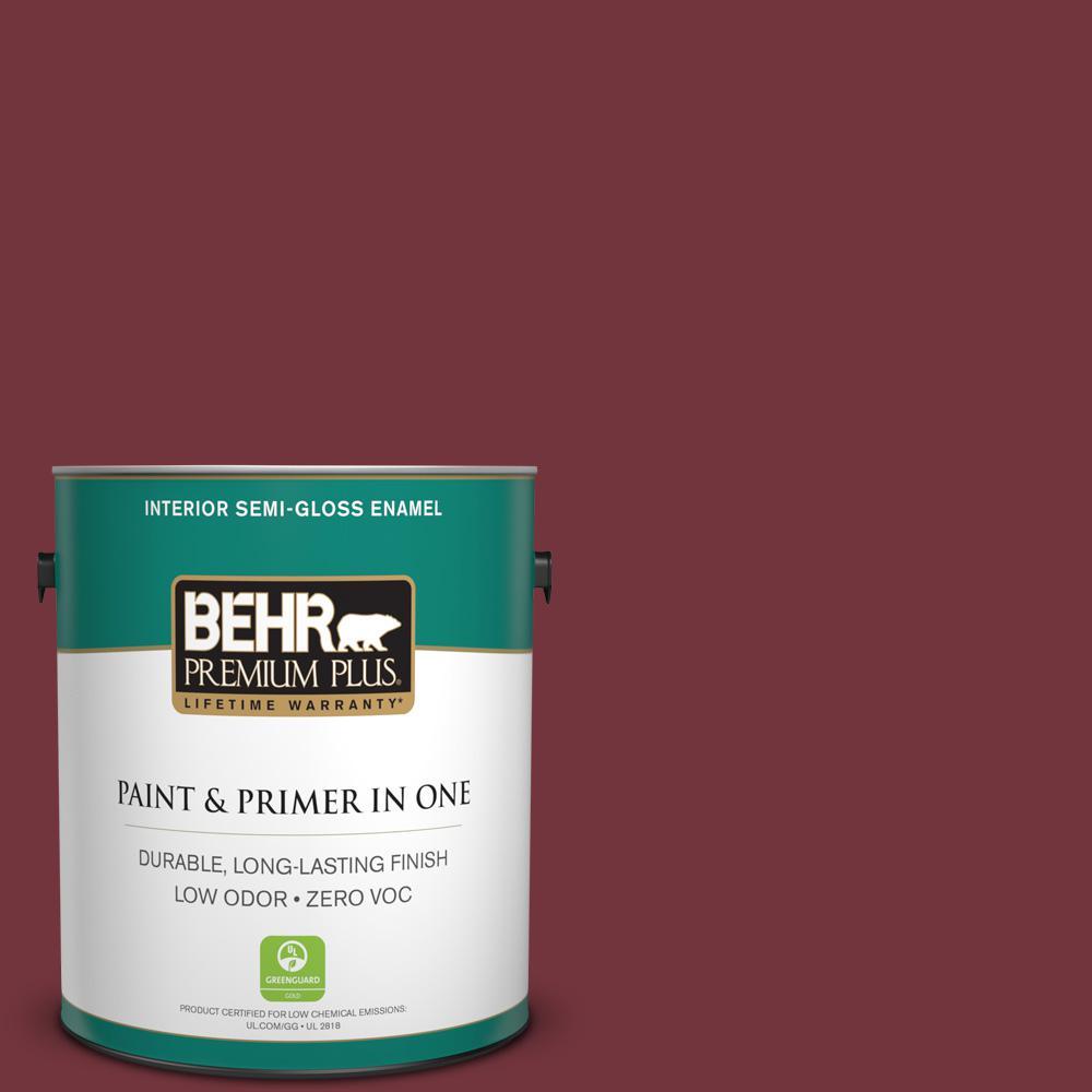 BEHR Premium Plus 1-gal. #S130-7 Cherry Cola Semi-Gloss Enamel Interior Paint