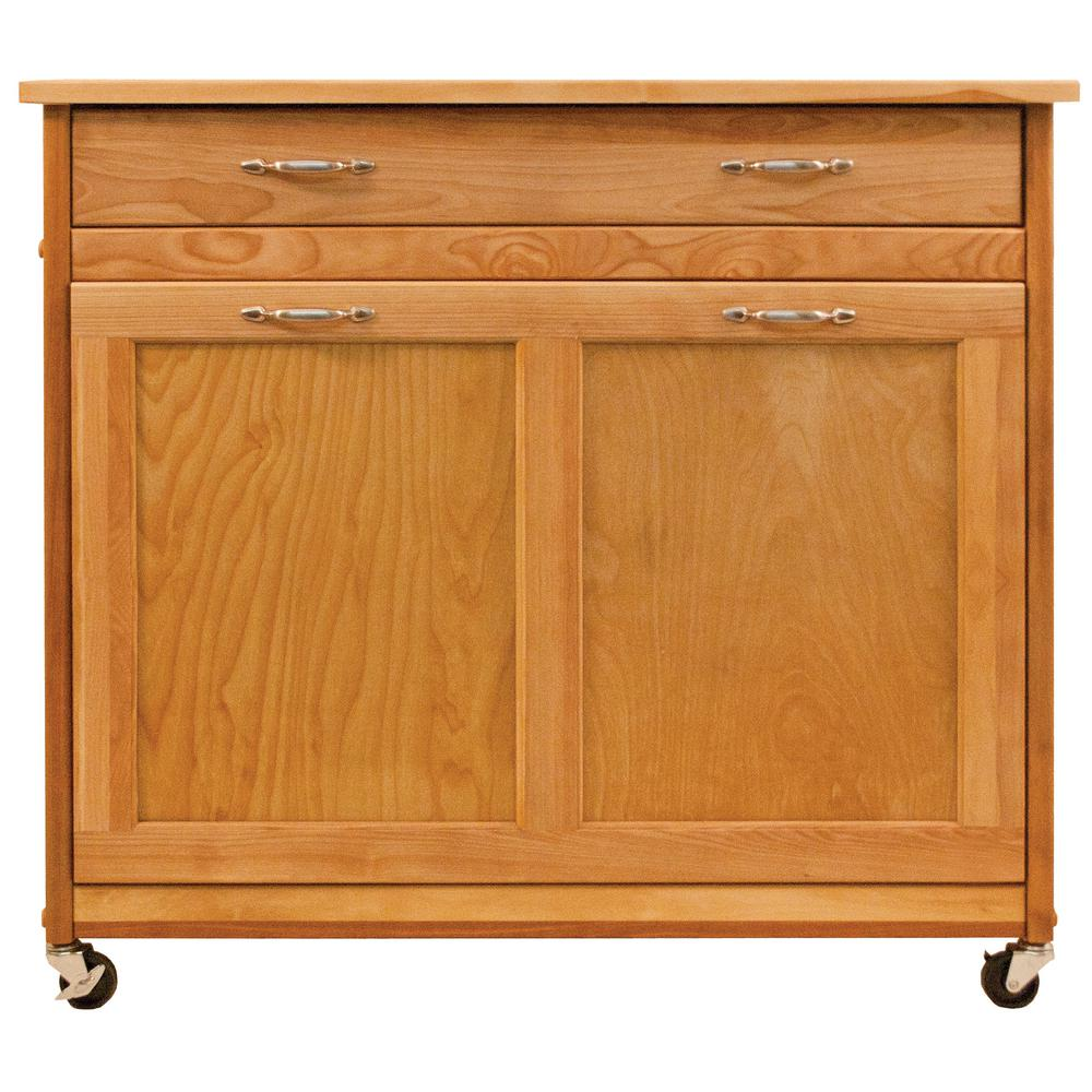 Catskill Craftsmen Natural Birch Recycling Trash Kitchen Island