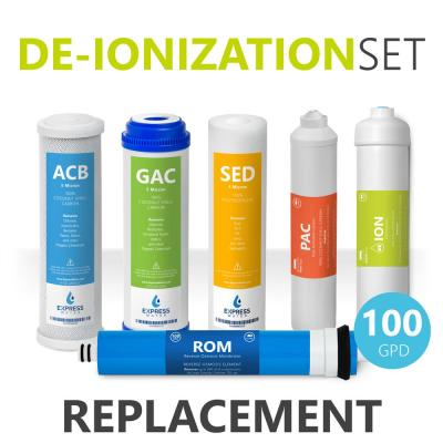 1 Year Deionization Reverse Osmosis System Replacement Filter Set - 6 Filters with 100 GPD RO Membrane - 10 in. Filters