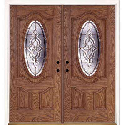 74 in. x 81.625 in. Lakewood Brass 3/4 Oval Lite Stained Medium Oak Right-Hand Fiberglass Double Prehung Front Door