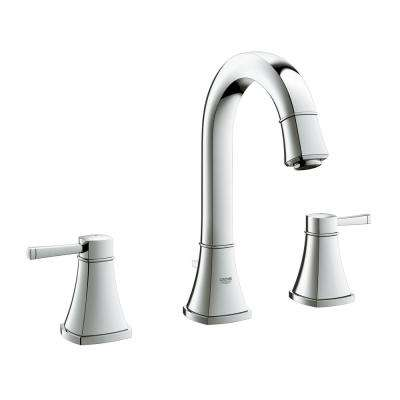 Grandera 8 in. Widespread 2-Handle with Drain 1.2 GPM Bathroom Faucet in StarLight Chrome