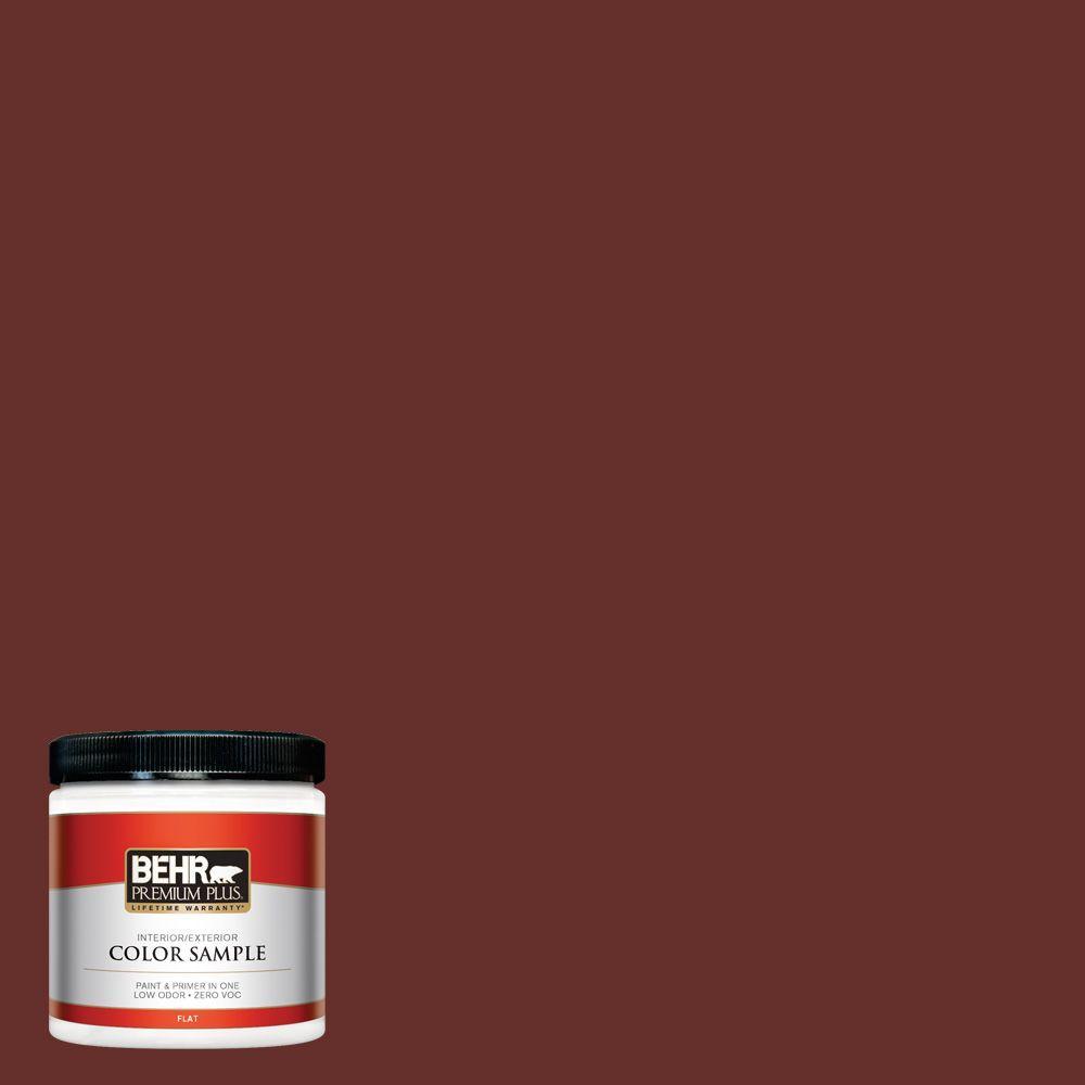 BEHR Premium Plus 8 oz. #ECC-31-3 Autumn Leaves Flat Interior/Exterior Paint and Primer in One Sample