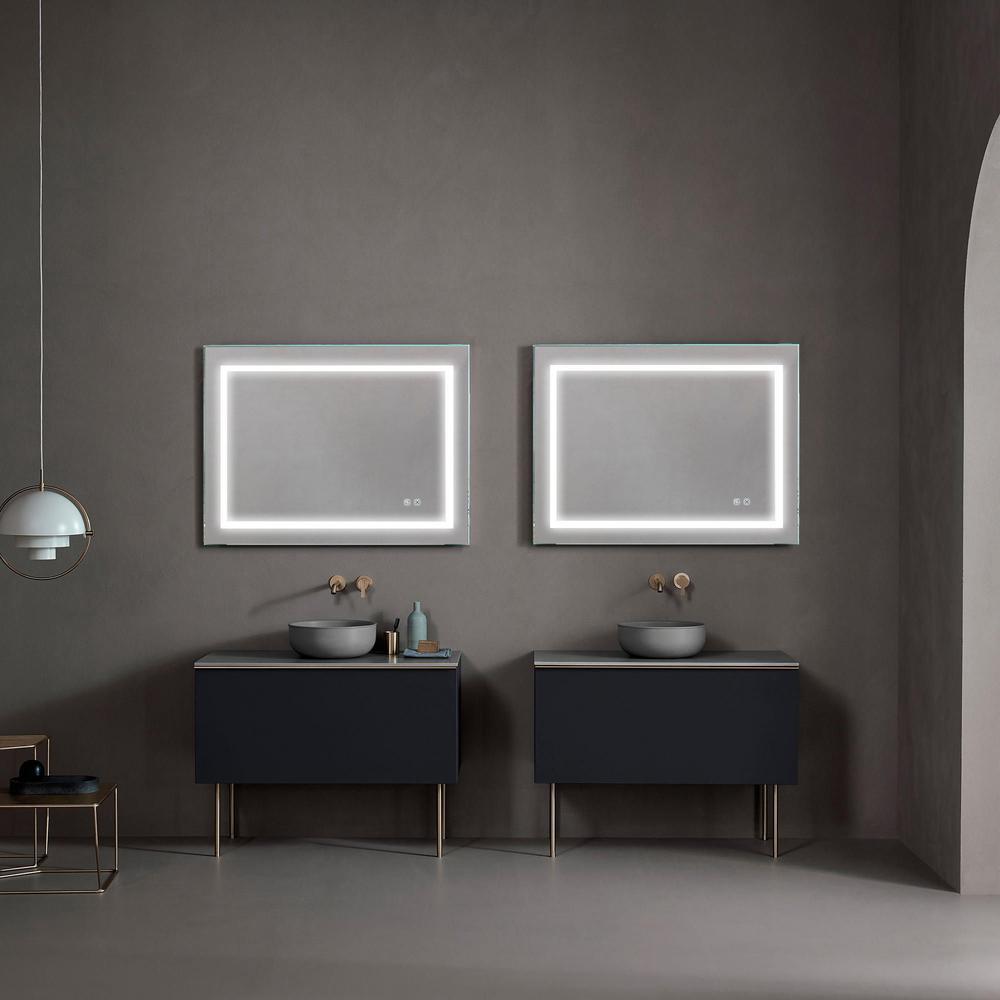 Matrix Decor 36 In W X 24 In H Frameless Rectangular Led Light Bathroom Vanity Mirror Js 2436r 4 X E The Home Depot