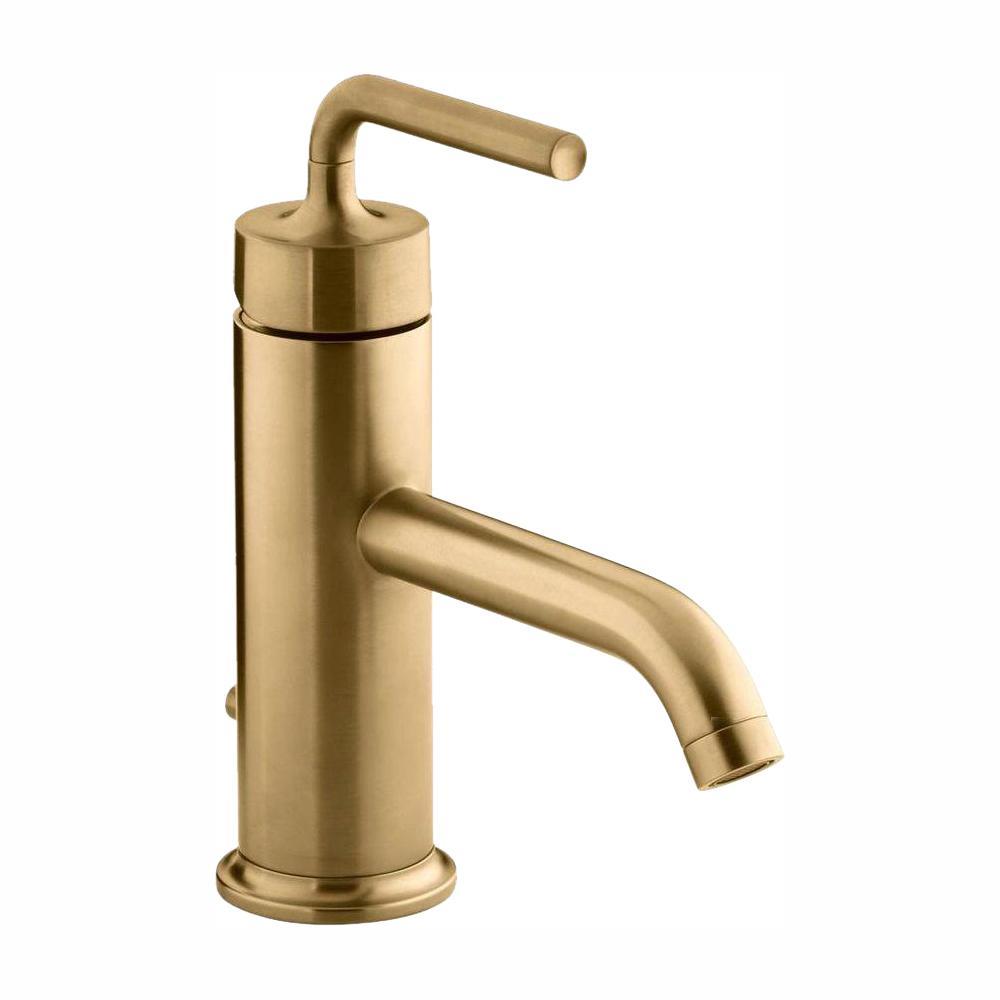Purist 1-Hole Single Handle Low-Arc Bathroom Vesesl Sink Faucet in Vibrant Moderne Brushed Gold