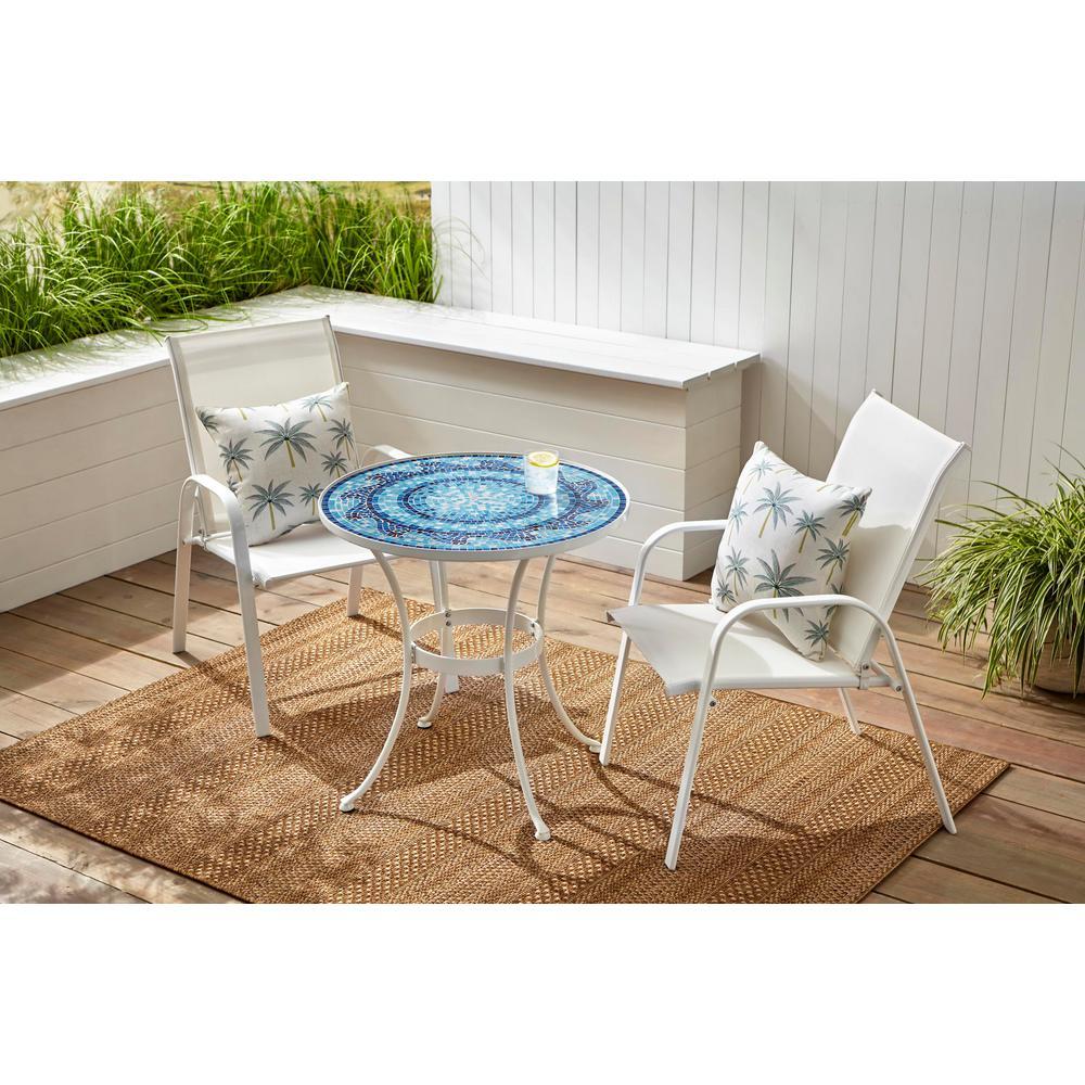 28 in. Coastal Glass Mosaic Outdoor Patio Bistro Table