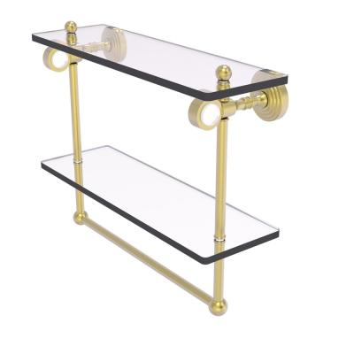Pacific Grove 16 in. Double Glass Shelf with Towel Bar in Satin Brass