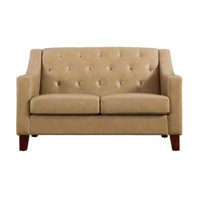 avalon taupe tufted back track arm loveseat