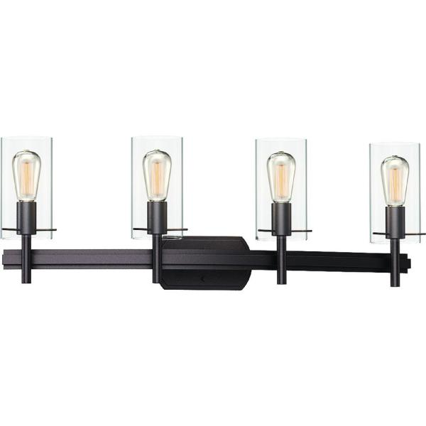 Volume Lighting Regina 4 Light 8 In Antique Bronze Indoor Bathroom Vanity Wall Sconce Or Wall Mount With Clear Glass Cylinder Shades 2024 79 The Home Depot