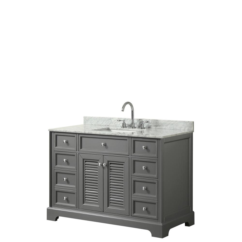 Wyndham Collection Tamara 48.5 in. Single Bathroom Vanity in Dark Gray with Marble Vanity Top in White Carrara with White Basins