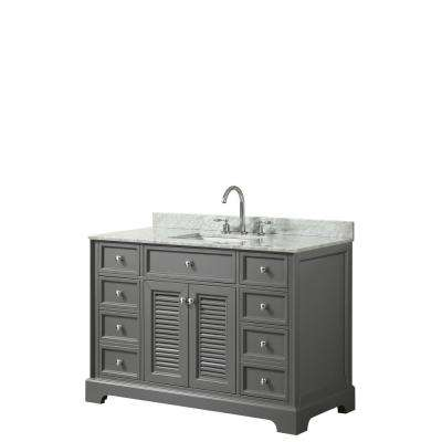 Tamara 48.5 in. Single Bathroom Vanity in Dark Gray with Marble Vanity Top in White Carrara with White Basins