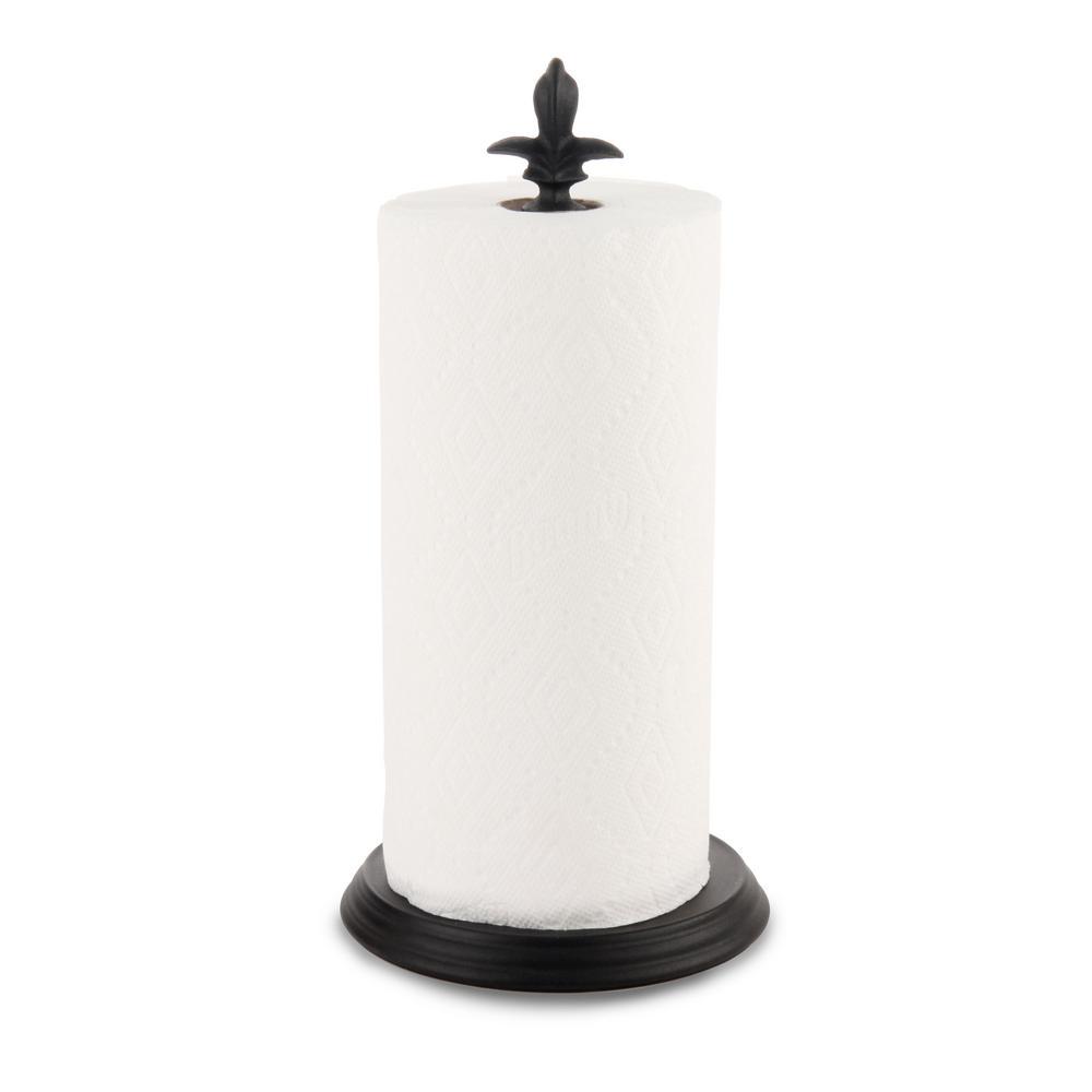 Fleur de Lis Paper Towel Roll Holder Dispenser Stand, Black