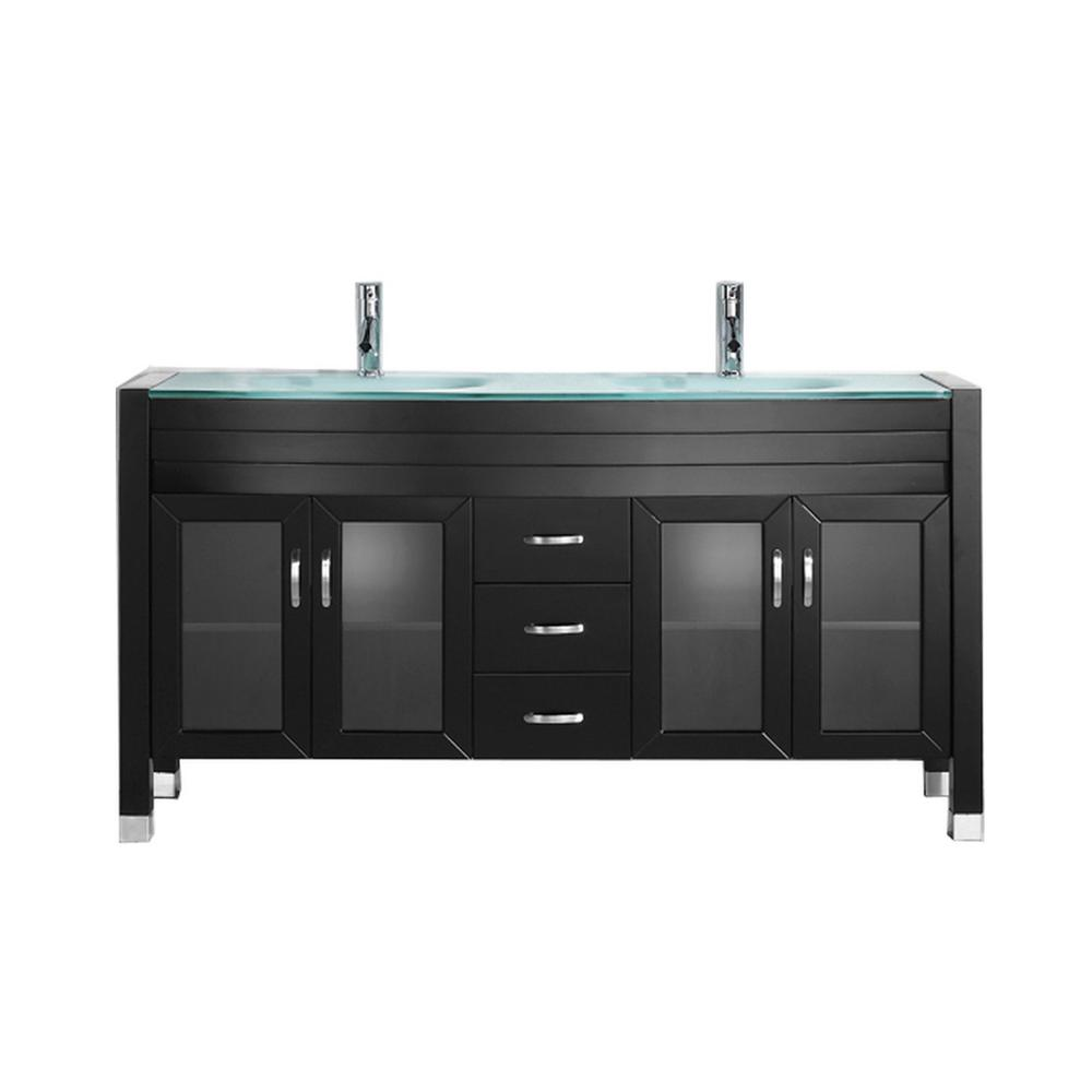 Virtu USA Ava 63 in. W Bath Vanity in Espresso with Glass Vanity Top in Aqua Tempered Glass with Round Basin and Faucet