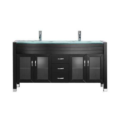 Ava 63 in. W Bath Vanity in Espresso with Glass Vanity Top in Aqua Tempered Glass with Round Basin and Faucet