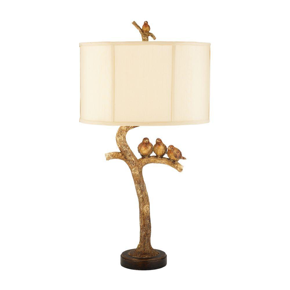 Titan Lighting 31 in. 1-Light Brown Three Bird Light Lamp