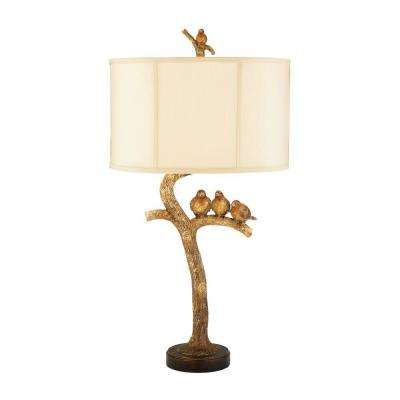 31 in. 1-Light Brown Three Bird Light Lamp