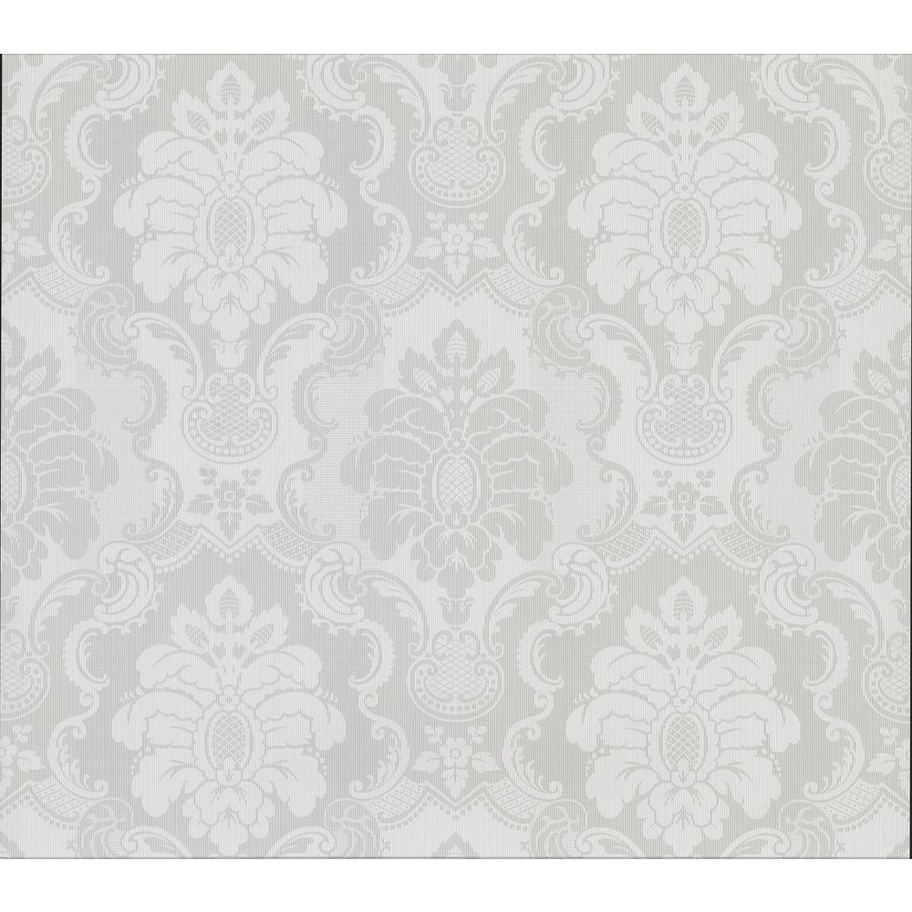 Advantage Juliet Light Grey Damask Wallpaper Sample 2836-802443SAM