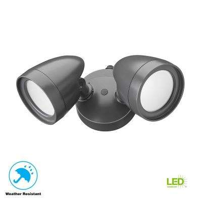 2 Head Dark Bronze Outdoor Integrated LED Security Flood Light with Dusk to Dawn