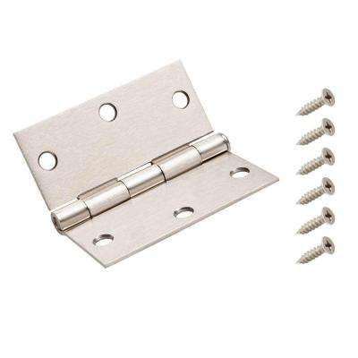 3-1/2 in. Satin Nickel Square Corner Door Hinge