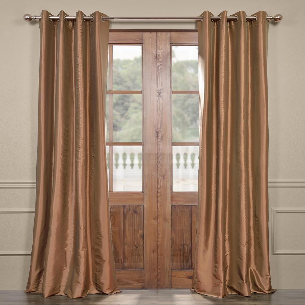 Exclusive Fabrics & Furnishings Gold Nugget Brown Grommet Blackout Faux Silk Taffeta Curtain - 50 in. W x 120 in. L