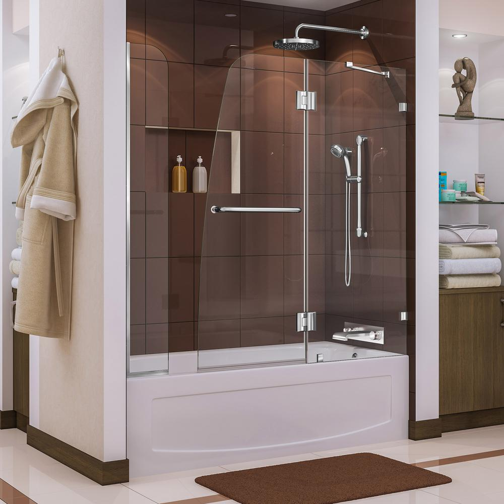 Dreamline Aqua Lux 56 to 60 in. x 58 in. Frameless Hinged Tub Door with Extender in Chrome