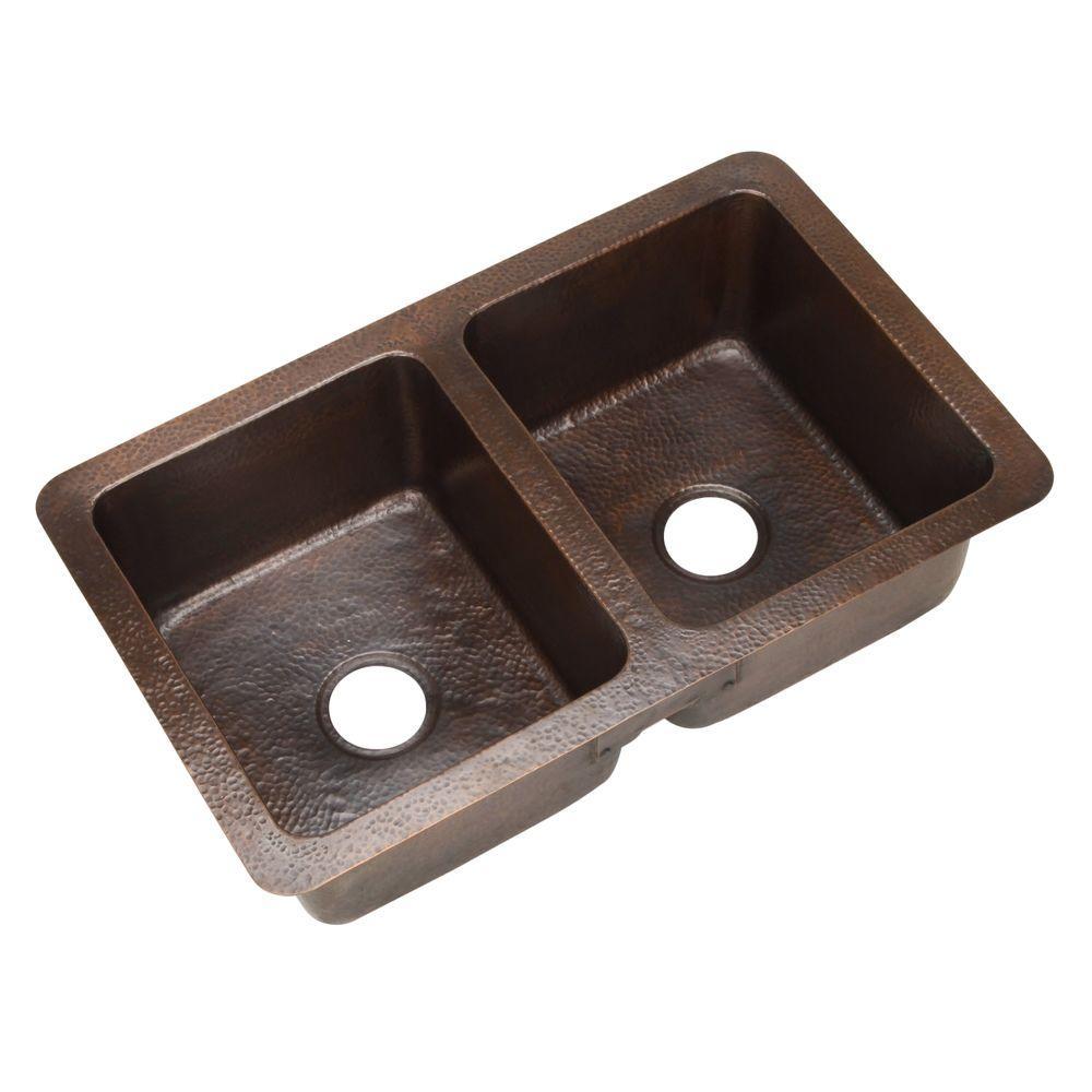 Hammerwerks Series Chalet Chef Undermount Copper 34 in. Double Bowl Kitchen Sink in Antique Copper