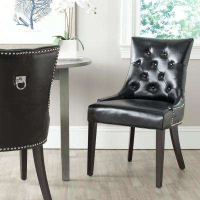 Harlow Black/Espresso Bicast Leather Side Chair (Set of 2)