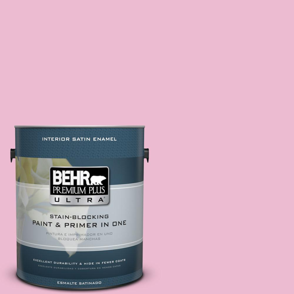 1-gal. #P130-2 Pink Innocence Satin Enamel Interior Paint