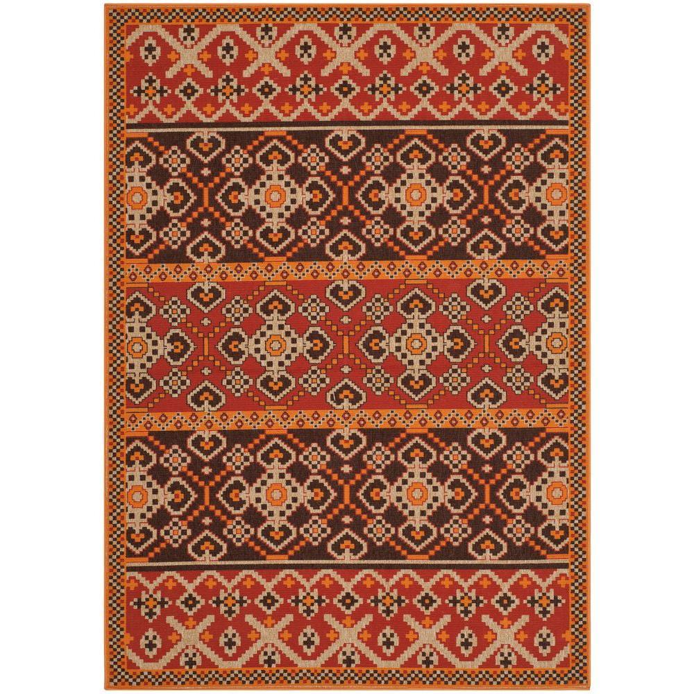 Safavieh Veranda Red/Chocolate 5 ft. 3 in. x 7 ft. 7 in. Indoor/Outdoor Area Rug