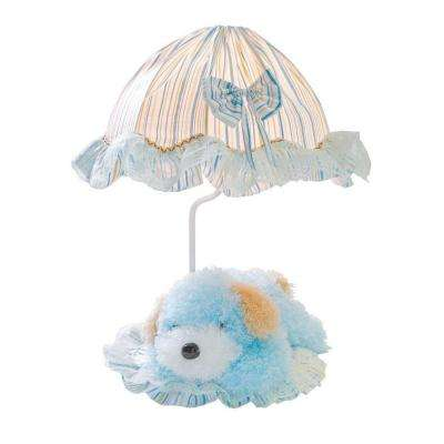 Designer Collection 18 in. Blue Puppy Table Lamp with Fabric Shade