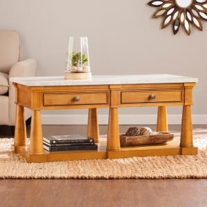 Southern Enterprises Livienne Glazed Pine with Faux Marble Top Cocktail Table by Southern Enterprises