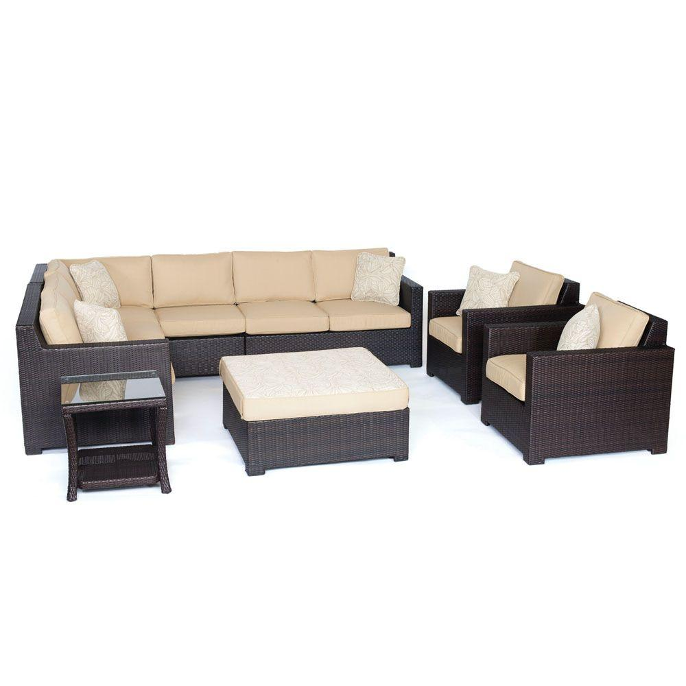 Hanover Brown All Weather Wicker Seating Set Sahara Sand Cushions