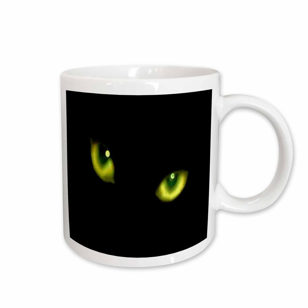 Sandy Mertens Halloween Cat Designs 11 oz. White Ceramic Green Eyes of a Black Cat Mug